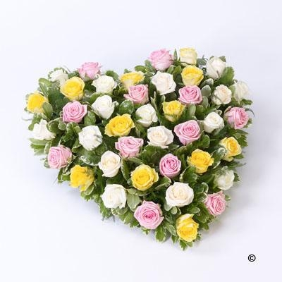 Mixed Rose Heart   Pink, Yellow and Cream